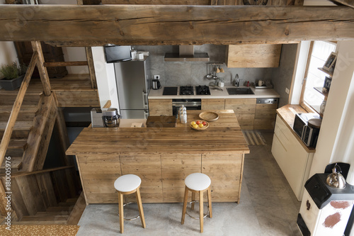 wood kitchen in cottage style - 180005976