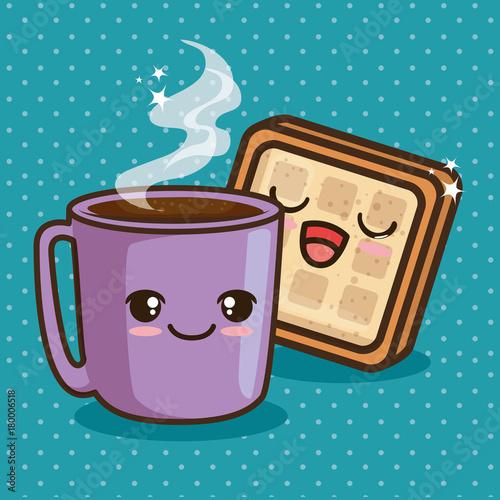Fridge magnet cute kawaii breakfast food cartoon vector illustration graphic design