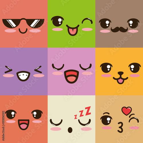 cute kawaii emoticon face vector illustration graphic design - 180006582