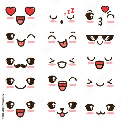 cute kawaii emoticon face vector illustration graphic design - 180006598