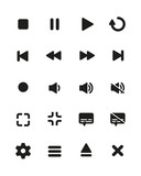 Video player flat icon button pack 03