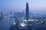 Bangkok urban skyline aerial view at dusk. - 180008159