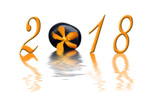 2018, zen orange orchid and black stone - 180008747