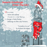 Design of the Christmas greeting card with Big Ben in a red scarf and hat and with a lyrics of London Snow poem by Robert Bridges. EPS 8 vector illustration. © aen_seidhe