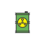 Toxic barrel filled outline icon, line vector sign, linear colorful pictogram isolated on white. Radioactive waste symbol, logo illustration. Pixel perfect vector graphics - 180009381
