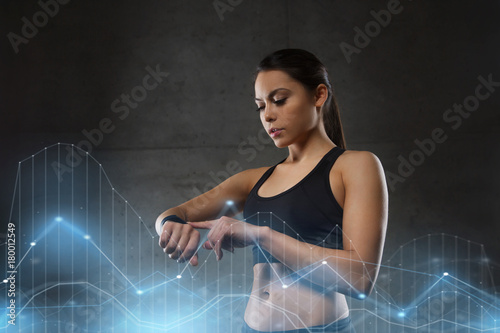Poster young woman with heart-rate watch in gym
