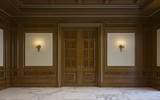 Wood wall panels in classical style with gilding. 3d rendering