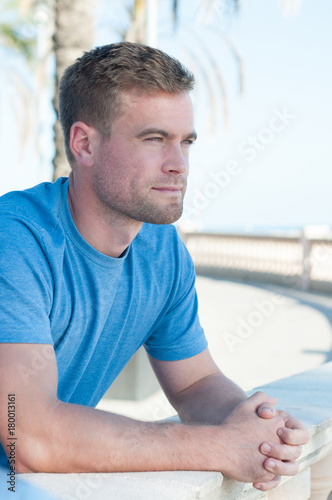 In de dag Barcelona Relaxed Fitness Male Portrait Beach