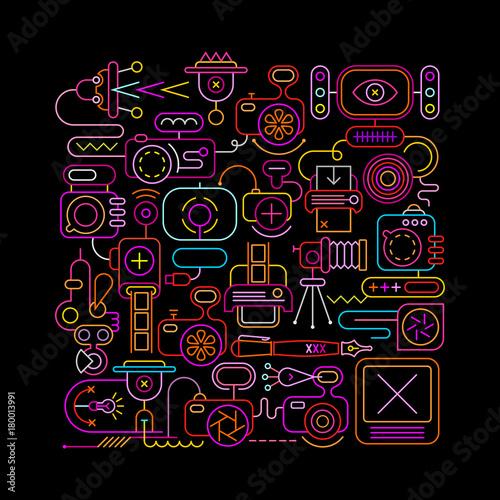 Fotobehang Abstractie Art Photo Equipment neon vector illustration