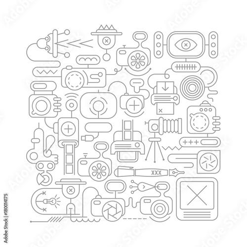 Fotobehang Abstractie Art Photo Equipment line art vector illustration