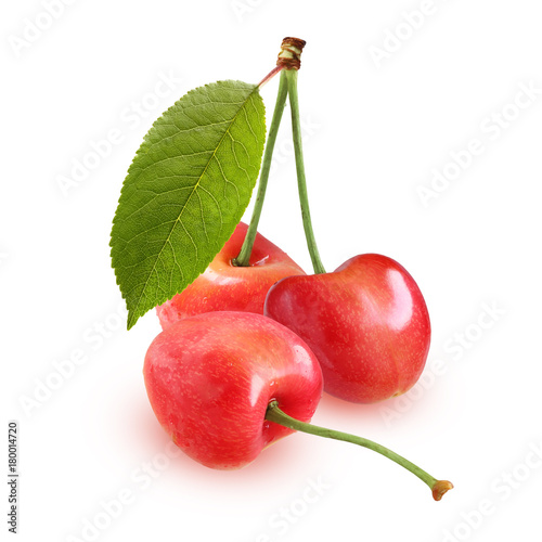 Aluminium Kersen Ripe cherry, isolated on a white background. Three berries entirely.