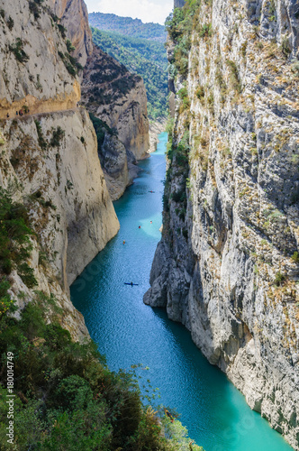 Fotobehang Bergrivier Aerial view of the Congost de Mont-rebei in Catalonia, Spain