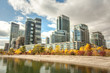 Waterfront condo buildings modern city scape