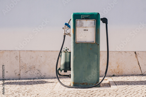 Aged and worn vintage gas oil pump Poster