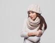 Beautiful young woman winter portrait