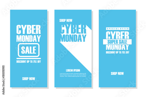 Cyber Monday Sale. Set of promotional flyers for business, commerce and advertising. Discount up to 75% off. Vector illustration.