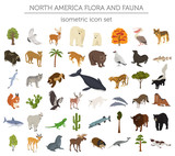 Isometric 3d North America flora and fauna elements. Animals, birds and sea life. Build your own geography infographics collection