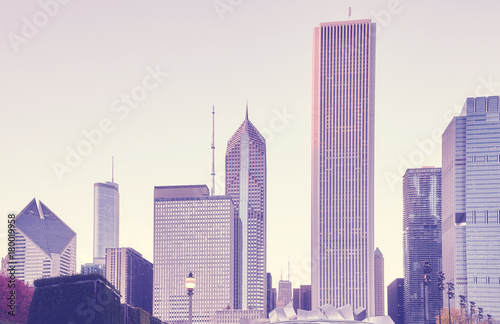 Color toned picture of Chicago skyline at sunset, USA. Poster