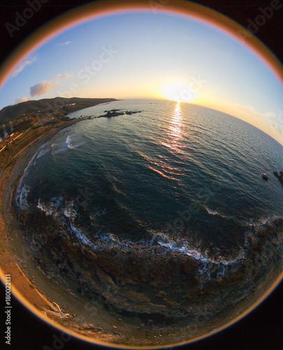 Papiers peints Chypre Sunset drone photo over Pomos village beach, island of Cyprus