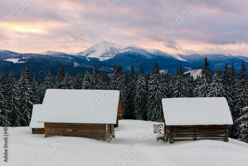 Aluminium Winter Fantastic landscape with snowy house