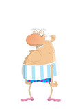Grumpy Old Man In His Boxer Shorts Wall Sticker