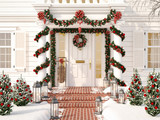 christmas decorated porch with little trees and lanterns. 3d rendering - 180032112