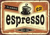 Authentic Italian espresso vintage tin sign advertise - 180033108
