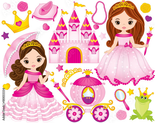 Vector Set of Beautiful Princesses and Fairytale Elements
