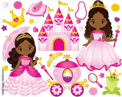 Vector Set of Beautiful African American Princesses and Fairytale Elements