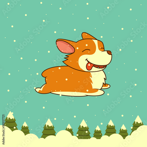 Plexiglas Groene koraal Vector New Year dog on winter forest background. Welsh corgi dog. for Xmas, New Year poster