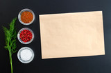 Various seasonings with paper for text - 180038715