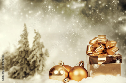 Fotobehang Beige Christmas decorations against winter background