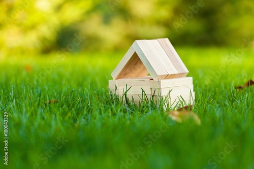 Small House Made of Wood Blocks on Grass - 180043329