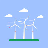 Alternative energy source. Wind turbines. Vector Illustration in - 180048741