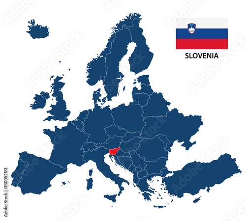 Vector illustration of a map of Europe with highlighted Slovenia and ...