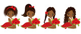 Vector Cute Little African American Girls with Poppy Bouquets
