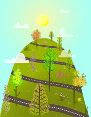 Cartoon uphill forest road scenery. Vector illustration. © Popmarleo