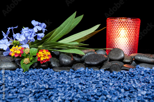 Fotobehang Spa Spa still life with aromatic candles over black background