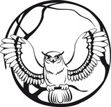 black and white owl sitting on a branch tree. circular design
