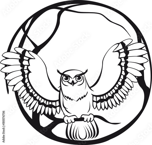 Foto op Plexiglas Uilen cartoon black and white owl sitting on a branch tree. circular design