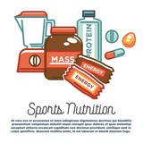 Sports nutrition and fitness food healthy protein dietary gym supplements vector poster