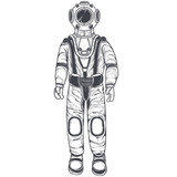 Vector black and white illustration of an astronaut, cosmonaut in a space suit and helmet, in the style of an engraving, isolated on a white background. Print, template, design element - 180083561