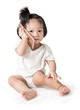 Little baby girl with smartphone