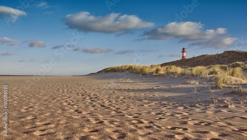 Foto op Canvas Noordzee Leuchtturm in den Dünen an der Küste