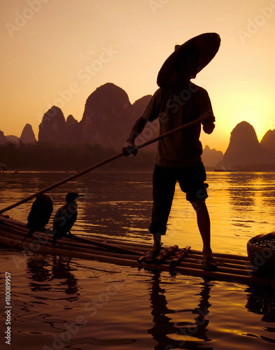 Plexiglas Guilin Traditional cormorant fishing, Li River, Guangxi, China.