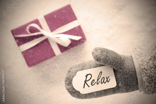 Pink Gift, Glove, Text Relax, Instagram Filter - 180090397