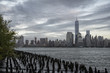 panoramic view of Manhattan city while it rains