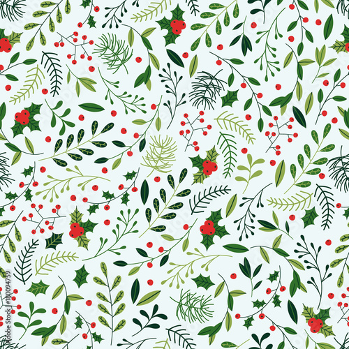 Materiał do szycia Seamless Christmas Pattern with Mistletoe, Spruce Branches, Green Leaves and Berries.