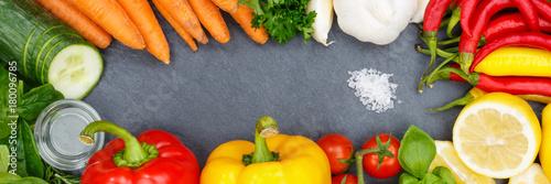 Poster Gemüse Sammlung Tomaten Karotten Paprika kochen Schieferplatte Banner Zutaten Hi
