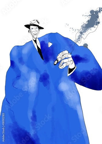 Watercolor illustration of famous musician. Frank Sinatra illustration isolated on white background - 180102183